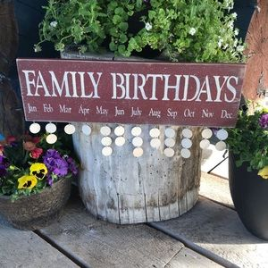 Family Birthday Sign Red